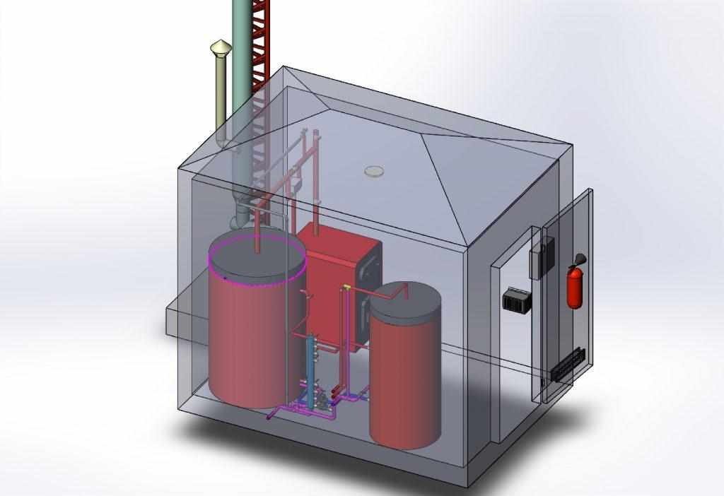 Пример модульной котельной на твердом топливе